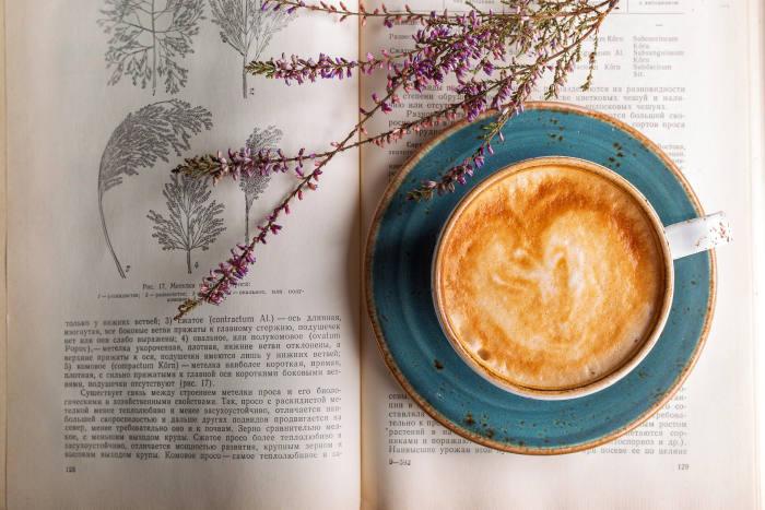 ceasca de cafea pe o farfurie langa o carte si fire de levantica
