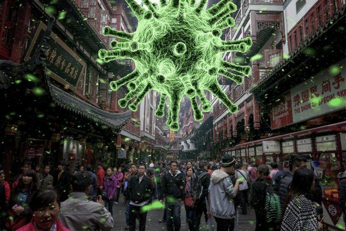 Persoane pe strada in aglomeratie intr-o tara asiatica si care sunt amenintate de coronavirus