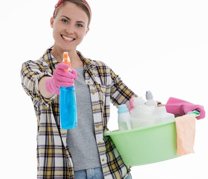 Femeie care face curat, care are in mana un spray si un lighean cu alte recipiente cu detergent