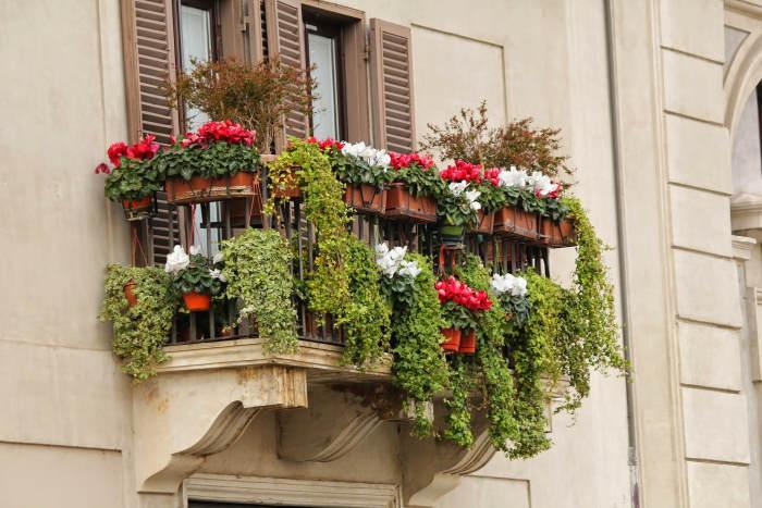 Balcon deschis amenajat cu ghivece cu flori
